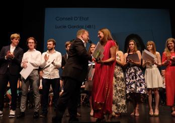 photo de la remise du prix de la meilleure maturité bilingue à Gambach