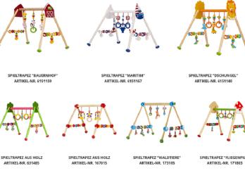 la photo montre les différents jouets trapèze concernés par la mise en garde
