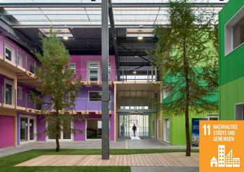 Zero-Carbon-Büroräume der Blauen Halle von blueFACTORY. Lutz Architectes / Corinne Cuendet.