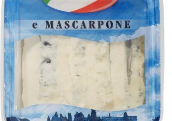 Das Bild zeigt ein Paket von gorgonzola e mascarpone