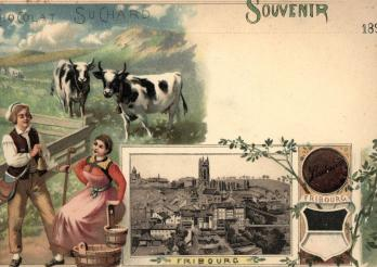 Fribourg, Souvenir, Chocolat Suchard, 1898. Bibliothèque cantonale et universitaire - Collection de cartes postales