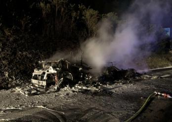 Un camping-car prend feu sur l'A12 / Ein Wohnmobil fängt auf der Autobahn A12 Feuer