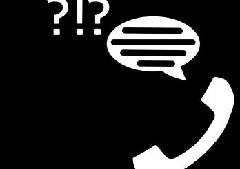 Icône téléphones avec points d'interrogation et bulle de conversation
