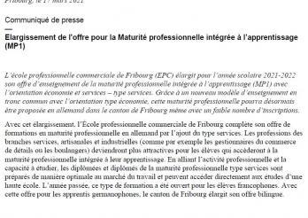 Communiqué de presse - MP1