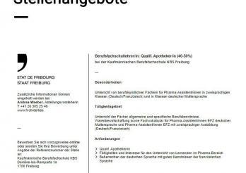 Berufsfachschullehrer/in: Qualif. Apotheker/in (40-50%)