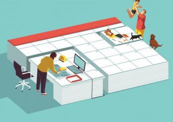 Teilzeitarbeit als Möglichkeit Beruf und Privatleben zu kombinieren. Kalender in verschiedene Zonen aufgeteilt: eine Frau arbeitet im Büro, ein Mann spielt mit einem Kind