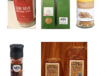 Foto der fünf betroffenen Produkte