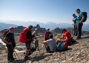 Participants à l'excursion dans les sédiments profonds de l'océan alpin, aux Becs de Bosson