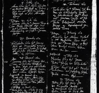 Mikrofilm des Taufregisters Düdingen, 17. Jh.