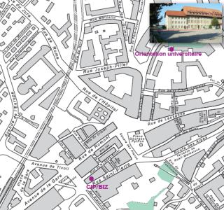 Carte indiquant le centre d'orientation universitaire et le centre d'information professionnelle