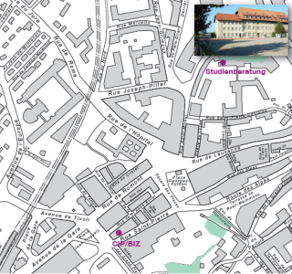 Karte mit dem Standort der Studienberatung und des BIZ