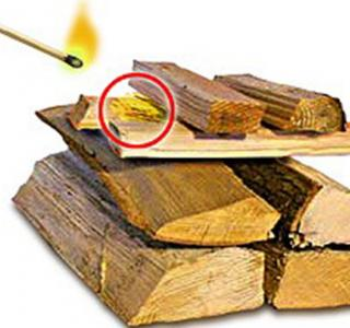 Démarrer le feu sans papier et par le haut