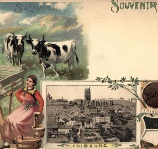 Fribourg, Souvenir, Chocolat Suchard, 1898. Kantons- und Universitätsbibliothek Freiburg - Postkartensammlung