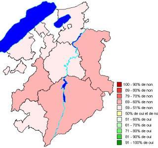 Résultats par districts: Loi du 9 octobre 2008 modifiant la loi sur l'exercice du commerce