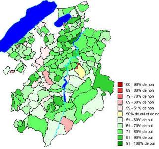 Résultats par communes: Loi portant adhésion du canton de Fribourg à l'accord intercantonal sur l'harmonisation de la scolarité obligatoire