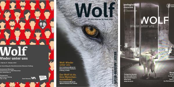 Plakate der verschiedenen Ausstellungen Wolf - Wieder unter uns
