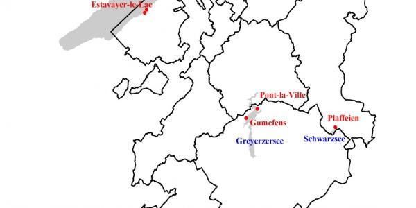 Karte der offiziellen Strandbäder des Kantons Freiburg