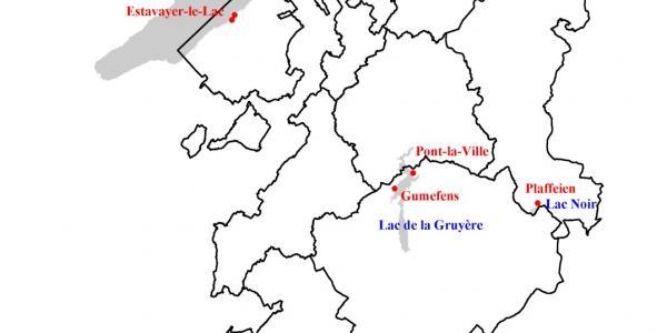 Carte des plages officielles du canton de Fribourg