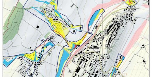 Gefahrenkarten im Zusammenhang mit Hochwassern an Fliessgewässern und mit Murgängen