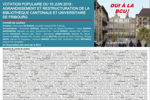 Comité de soutien au projet d'agrandissement et de restructuration de la Bibliothèque cantonale et universitaire