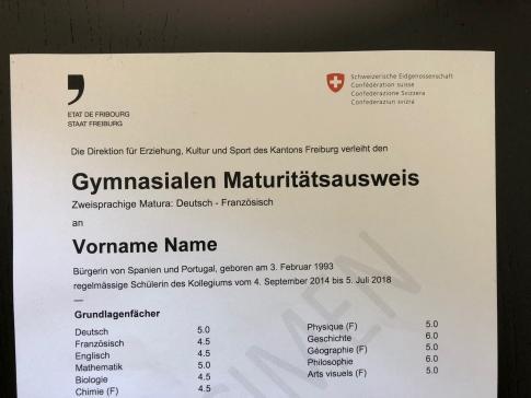 Auszeichnung des Staatsrats für die beste zweisprachige Maturität