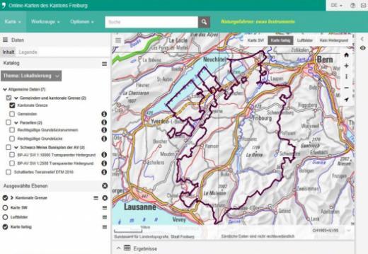 Online-Karten map.geo.fr.ch