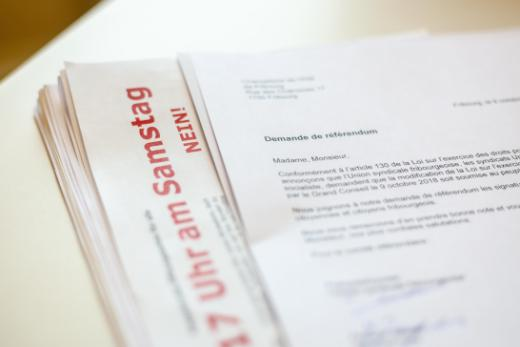 La demande de référendum contre la loi du 9 octobre 2018 modifiant la loi sur l'exercice du commerce (ouverture des commerces le samedi) a officiellement abouti
