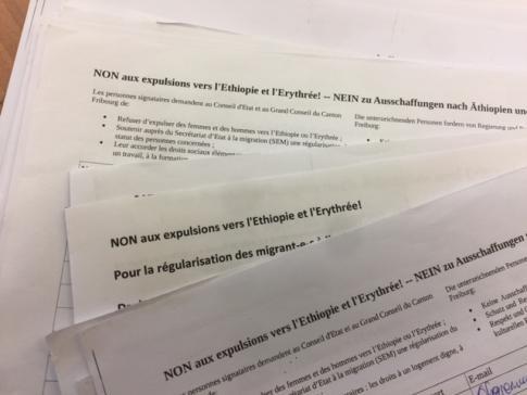Dépôt de pétition : contre les expulsions vers l'Ethiopie et l'Erythrée