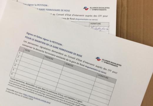 Einreichung einer Petition : für den Weiterbetrieb des Bahnhofs Rosé