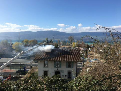 Incendie à la gare à Cheyres