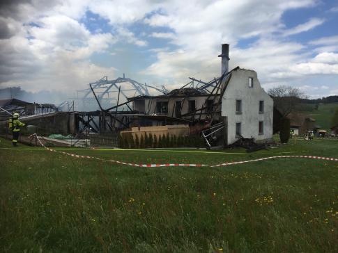 Bauernhaus in Alterswil durch Brand komplett zerstört / News uniquement en allemand