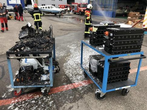 Des batteries en feu à l'aérodrome d'Ecuvillens