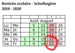 Schulbeginn 2019-2020
