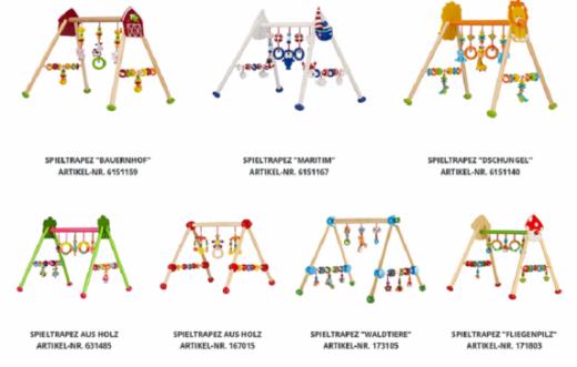 Mise en garde publique : risques de blessure, d'ingestion et d'étouffement liés à des petits éléments facilement détachables des jouets trapèze de Solini