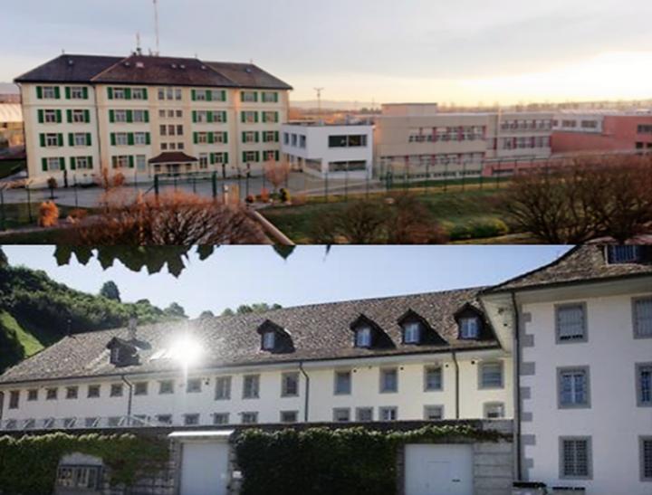 Haut : vue panoramique de Bellechasse / Bas : vue panoramique de la Prison centrale