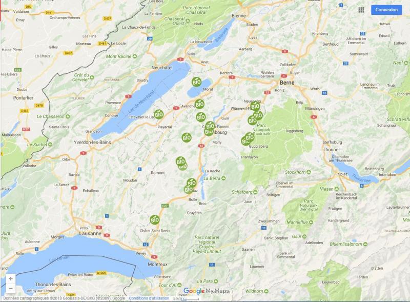Landwirtschaftliche Lehrstellen bio im Kanton Freiburg auf Google Maps