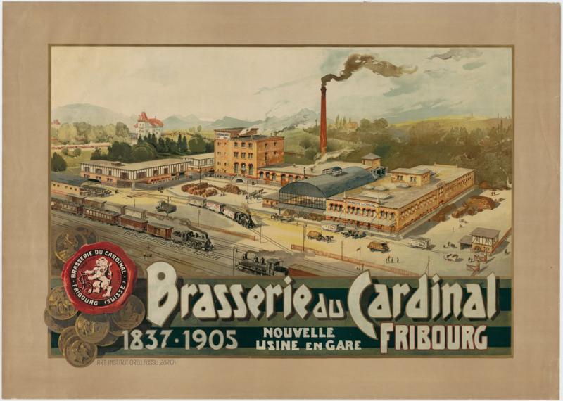 Brasserie du Cardinal, 1905. Bibliothèque cantonale et universitaire Fribourg. Collection d'affiches