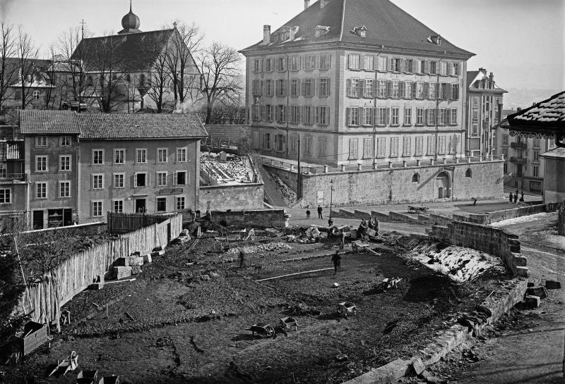 Travaux précédant la construction de la BCU, 1907-1908. Bibliothèque cantonale et universitaire Fribourg - Fonds Prosper Macherel