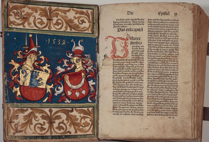 Bible latine imprimée à Strasbourg en 1485. Z 299, contreplat supérieur et f. aa1r. Bibliothèque cantonale et universitaire Fribourg