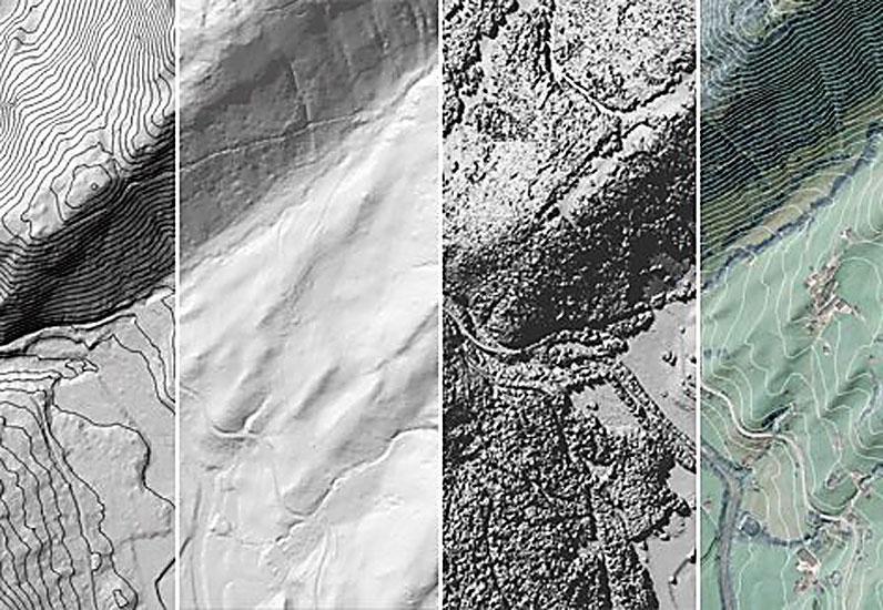 MNT, MNS, courbes de niveau / DOM, DTM, Höhenlinien