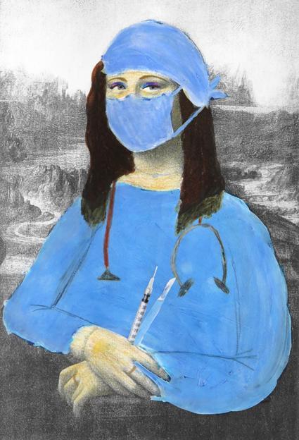 tableau de la Joconde que l'élève a habillé en chirurgienne