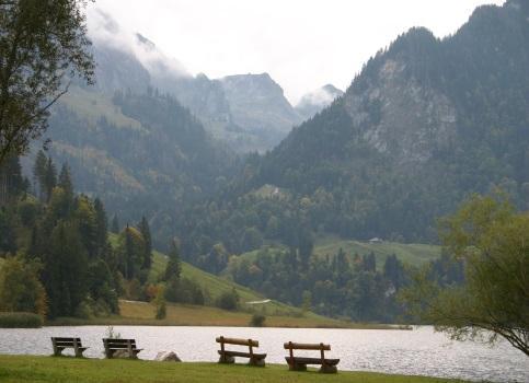 Sicht vom Schwarzsee auf den Breccaschlund