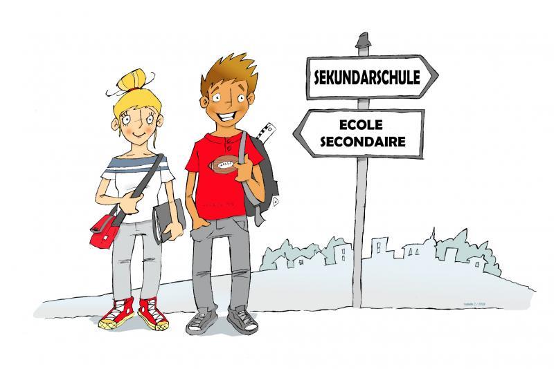 deux élèves devant un panneau indiquant la direction vers l'école secondaire