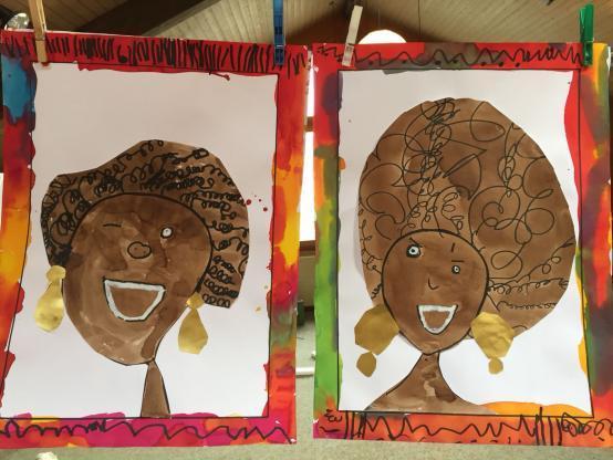 dessins d'élèves représentants des portraits de femmes africaines