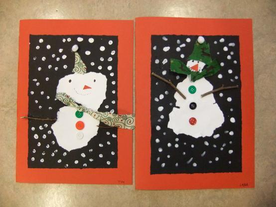 Travaux d'élèves représentant deux bonhommes de neige