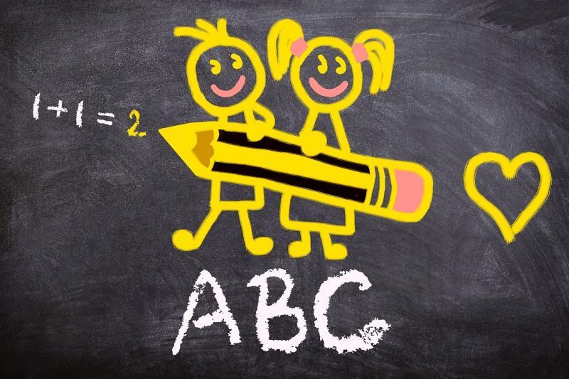 dessin d'un garçon et d'une fille qui tiennent un crayon sur un tableau noir