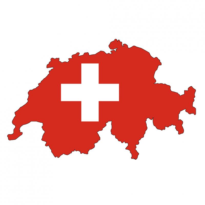 Das Bild zeigt die Konturen der Schweiz in rot mit dem weissen Schweizerkreuz in der Mitte