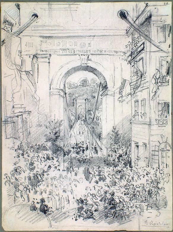 Joseph Reichlen, Procession sur le grand pont suspendu vue de l'entrée sud du pont