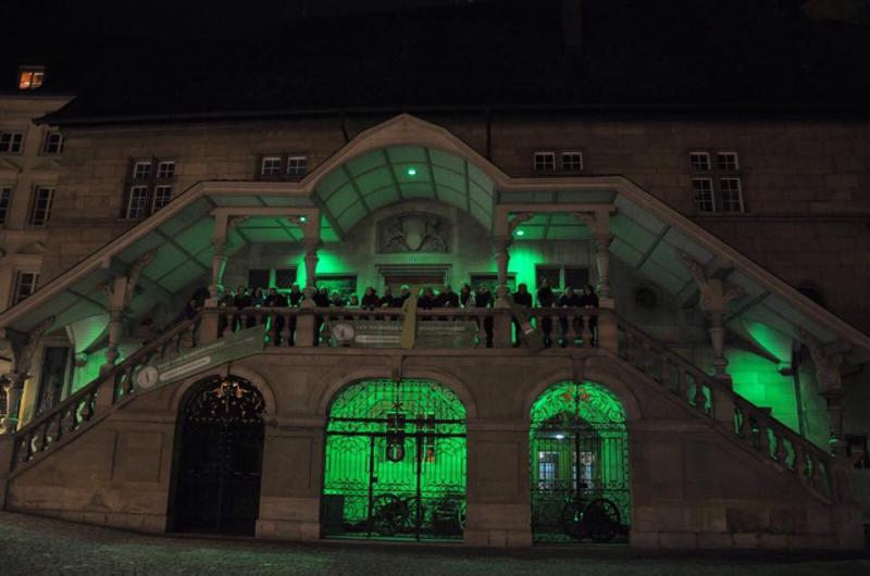 Das Rathaus in Grün