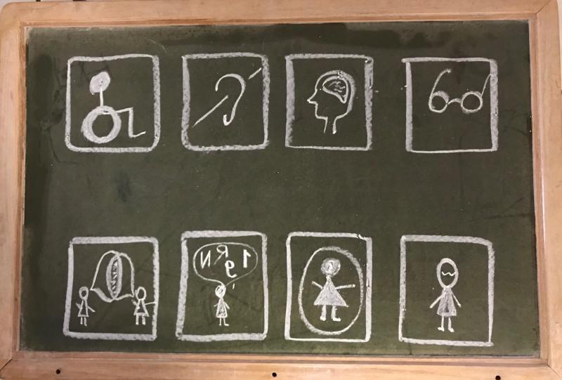tableau noir avec des illustrations de différents handicap